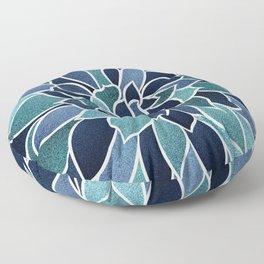 Festive, Flower Bloom, Navy Blue and Teal Floor Pillow