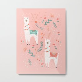 Lovely Llama on Pink Metal Print
