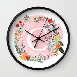 Flower Wreath with Personalized Monogram Initial Letter C on Pink Watercolor Paper Texture Artwork Wall Clock