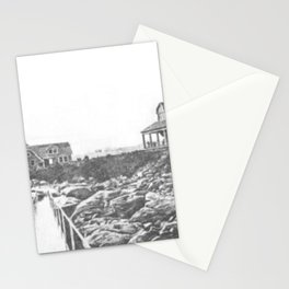 1895 Windswept Black Point Mansion, Scarborough Beach, Narragansett, Rhode Island Then & Now Stationery Cards