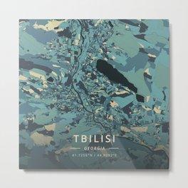 Tbilisi, Georgia - Cream Blue Metal Print