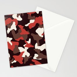 Red camo camouflage army pattern Stationery Cards