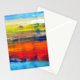 Horizon Blue Orange Red Abstract Art Stationery Cards