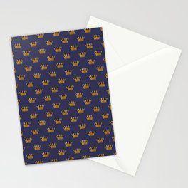 Mini Gold Crowns on Royal Blue Stationery Cards