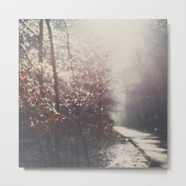 snow falling on an English country road print Metal Print