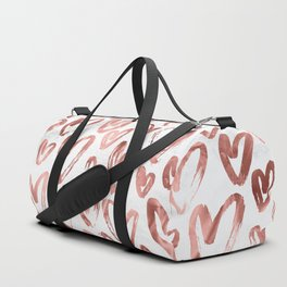 Rose Gold Love Hearts on Marble Duffle Bag