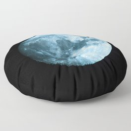 Moon on black background – Space Photography Floor Pillow