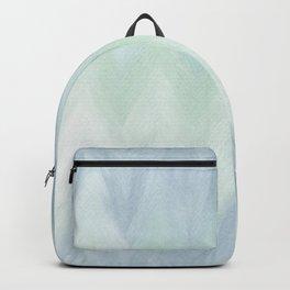Modern geometrical pastel blue mint green watercolor ikat Backpack