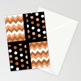 Black/Two-Tone Burnt Orange/White Chevron/Polkadot Stationery Cards