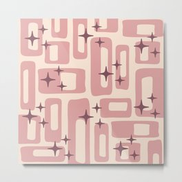 Retro Mid Century Modern Abstract Pattern 577 Dusty Rose Metal Print