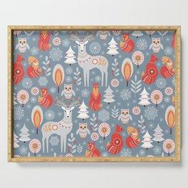 Fairy forest, deer, owls, foxes. Decorative pattern in Scandinavian style. Folk art. Serving Tray