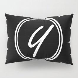 Monogram - Letter Y on Black Background Pillow Sham