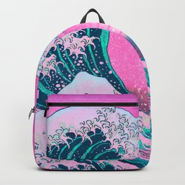 Vaporwave Aesthetic Great Wave Off Kanagawa Synthwave Sunset Backpack
