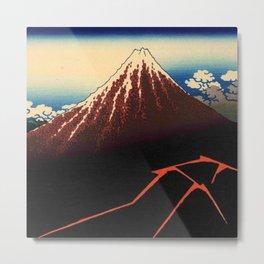 Hokusai -36 views of the Fuji 3 Lightnings below the summit Metal Print
