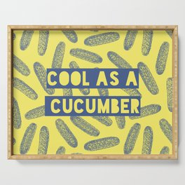 Cool as a cucumber! Seamless pattern design with green cucumbers Serving Tray