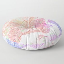 Montreal City Map of Canada - Colorful Floor Pillow