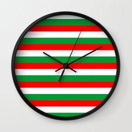 italy hungary bulgaria iran mexico Madagascar flag stripes Wall Clock