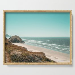 Beach Horizon | Teal Color Sky Ocean Water Waves Coastal Landscape Photograph Serving Tray