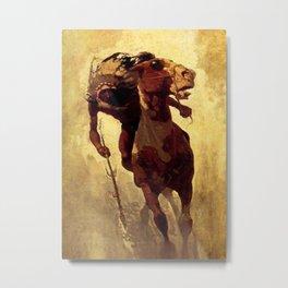 """N C Wyeth Vintage Western Painting """"Indian Lance"""" Metal Print"""