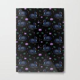 Black Swans in Lily Pond Metal Print