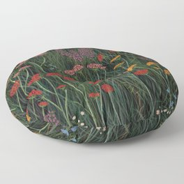 Meadow Red Floral Wildflowers Illustration Botanical Cottage Garden Flowers Nature Art Floor Pillow