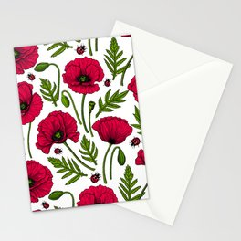 Red poppies and ladybugs Stationery Cards