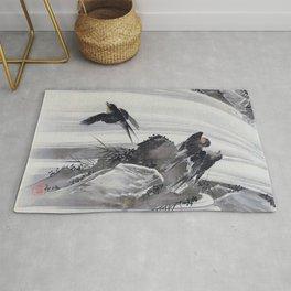 Kawanabe Kyosai - Swallows By A Waterfall - Digital Remastered Edition Rug