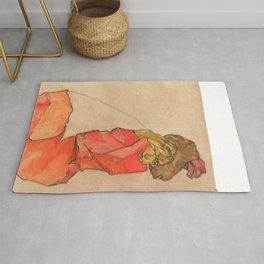 "Egon Schiele ""Kneeling Female in Orange-Red Dress"" Rug"