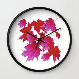 PURPLE-fuchsia maroon color blowing leaves Wall Clock