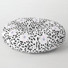 Black modern brushstrokes blush pink watercolor floral Floor Pillow