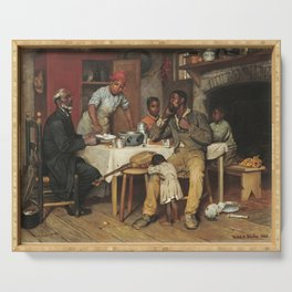 A Pastoral Visit, by Richard Norris Brooke, 1881, An African American family Serving Tray