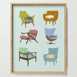 Cats Sleeping on Mid Century Modern Chairs Serving Tray