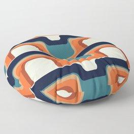 Mid-Century Modern Meets 1970s Orange & Blue Floor Pillow