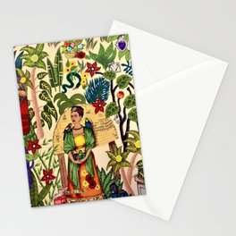 Coyoacán Mexican Garden of Casa Azul Lush Tropical Greenery Floral Landscape Painting Stationery Cards