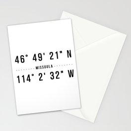 Missoula, Montana Coordinates Stationery Cards
