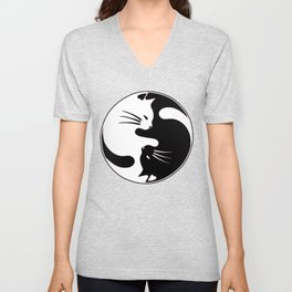 Cat Yin and Yang Unisex V-Neck