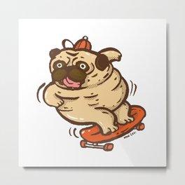 Fat pug playing surf skate Metal Print