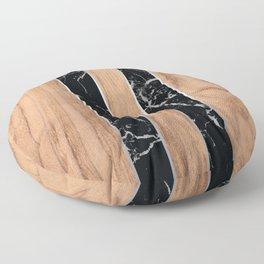 Striped Wood Grain Design - Black Granite #175 Floor Pillow
