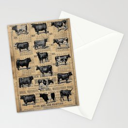 Vintage 1896 Cows Study on Antique Lancaster County Almanac Stationery Cards