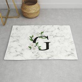 Letter 'G' Gardenia Flower Monogram Rug