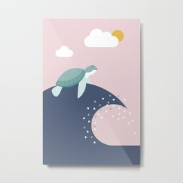 turtle - ride the wave Metal Print