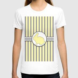 Rabbit on Yellow Stripes Pattern Design T-shirt