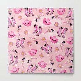 Artsy Cute Girly Pink Teal Cowgirl Watercolor Metal Print