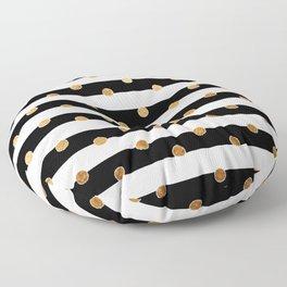 Black and white stripe gold dot Floor Pillow
