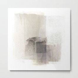 Beige and Brown Square Minimalist Abstract Painting Metal Print