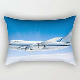 NASAs Stratospheric Observatory for Infrared Astronomy is silhouetted against the sky as it soars on Rectangular Pillow