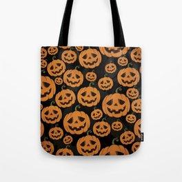Jack O Lantern Halloween Pattern on Black Tote Bag