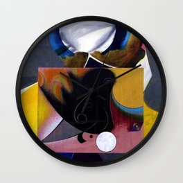 African American Masterpiece 'Midnight Golfer' abstract landscape painting by E.J.Martin Wall Clock