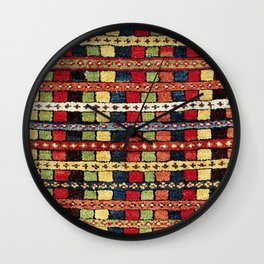 Rare Konya  Antique Turkish Tribal Yastik Print Wall Clock