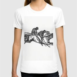 Vintage European Vintage European style engraving featuring horse racing with jockeys by Charles Sim T-shirt
